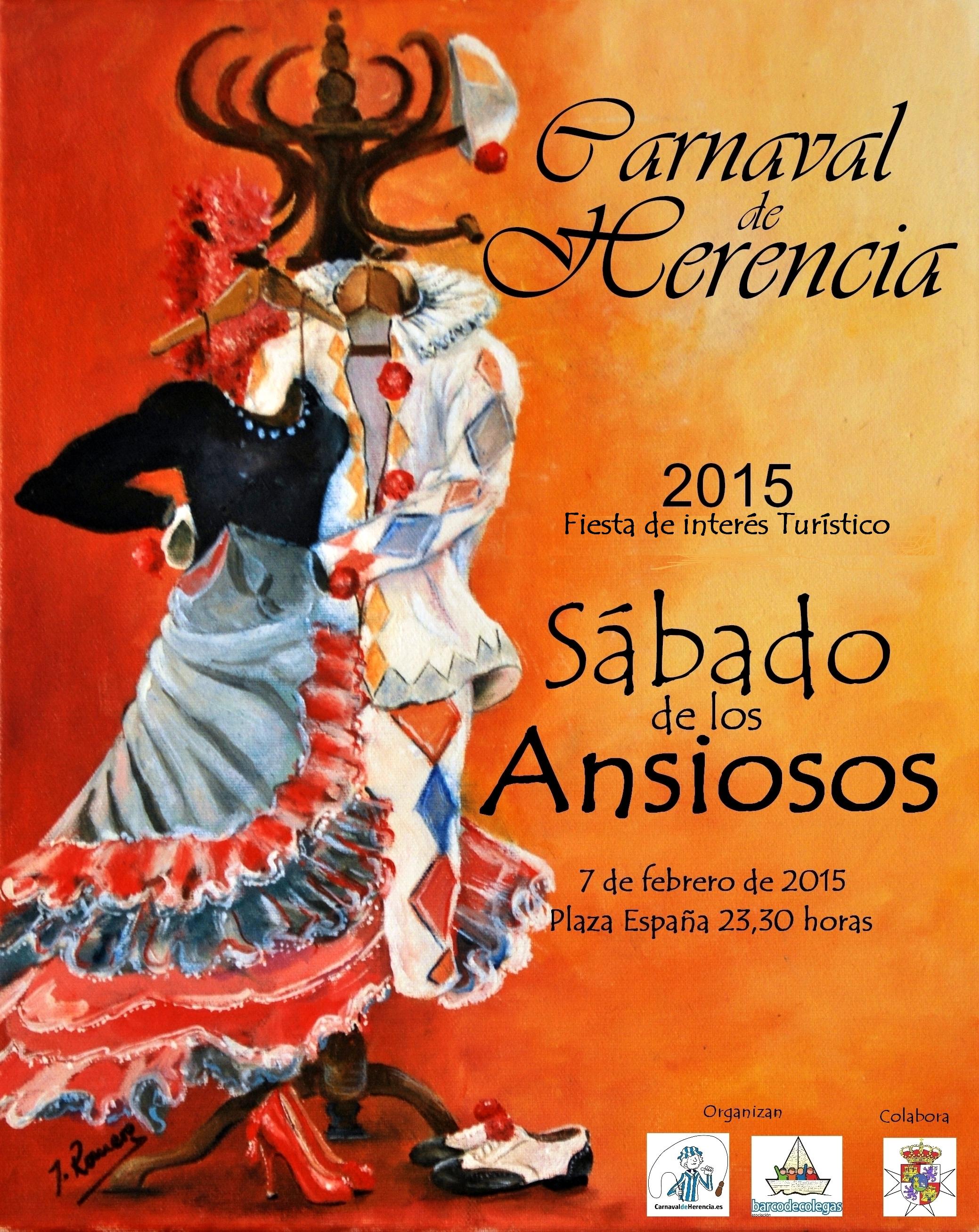 Cartel Sábado de los Ansiosos del Carnaval de Herencia 2015. Obra de Jesús Romero Núñez